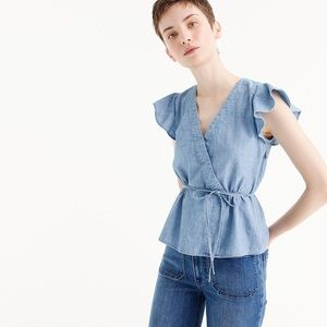 J by J. Crew   Chambray Flutter Sleeve Wrap Top